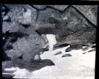 Quiet Rumblings - stream in the woods done in grays great for a cabin or lake house wall
