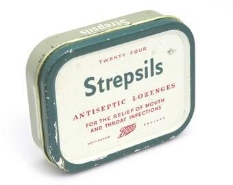 Collectible Tin, Vintage Tin, Medicine Tin, Medical Tin, Metal Tin, Storage Tin, Made In England, Storage Box, Trinket Tin