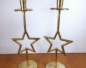 Vintage Brass Stars Candlesticks Astrology color Gold candle Retro Mid century brass candle holders set of 2