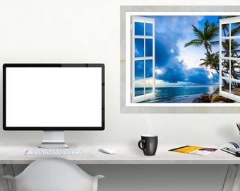 Removable Vinyl Wall Decal Open Window Wall Decor View of the Sky with Clouds Sunrise
