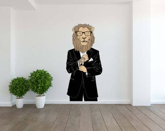 Removable Vinyl Wall Decal Wall Sticker Lion Dressed Up with Tattoo
