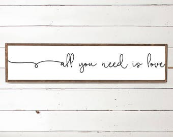 all you need is love - love home sign - Home Decor - Wood Signs - Wooden Signs - Wall Decor - Wall Art - Custom Wood Signs - Wall Decor -