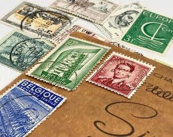 12 used vintage Belgium vintage postage stamps | Perfect for scrapbooking, stamp collecting, snail mail art, and crafting