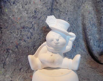 Ceramic Bisque Ready to Paint Snowman Sitting in the Snow