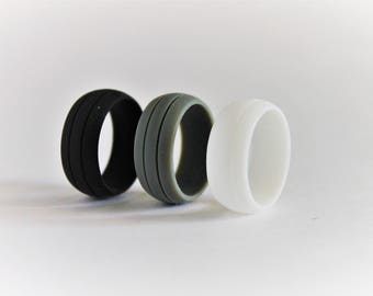 COMBO PACK: Silicone Wedding Rings, mens rubber wedding bands, flexible mens rings built for any adventure.