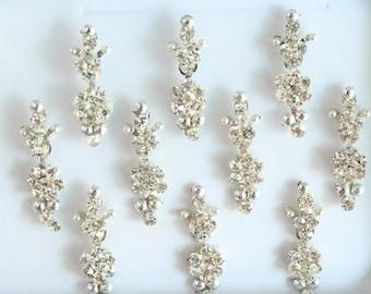 10 Silver Bindis  Face Jewels,Wedding Bindis,Stone Bindis,Silver Bindis,India Bindis,Bollywood Bindis, Long Bindis, Self Adhesive Stickers