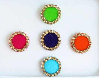 Multicolor Face Stickers ,Round Bindis,Velvet Colorful Bindis,Wedding Round Face Jewels Bindis,Bollywood Bindis,Self Adhesive Stickers Pack
