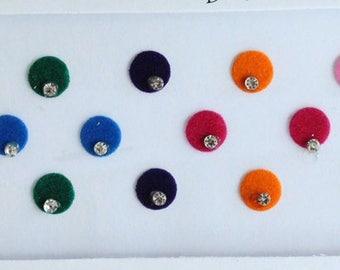 22 Plain Round Colored Bindis ,Wedding Round Bindis,Velvet Colorful Bindis,Colorful Face  Bindis,Bollywood Bindis,Self Adhesive Stickers