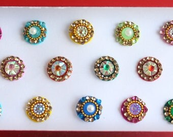 Wedding Round Bindis Face Jewels,Round Bindis,Velvet Multicolor Bindis,Colorful Face Bindis,Bollywood Bindis,Self Adhesive Stickers