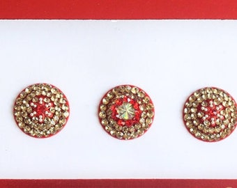 7 Extra Big Red Round Velvet Bollywood Bindis, Indian Velvet Colorful Bindis,Colorful Face Bindis,Bollywood Bindis,Self Adhesive Stickers