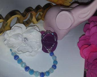 Beaded Pacifier Clip/ Beaded with Flower Brooch/
