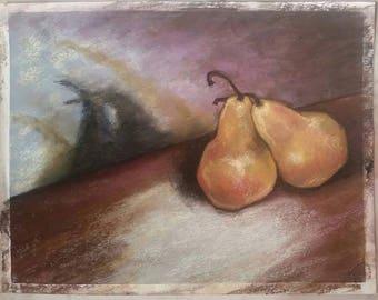 Snug Pears - original pastel