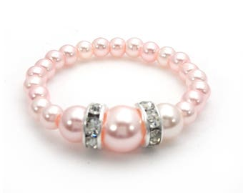 Baby Bracelet - Newborn to 9 Years Jewelry - Classic ELITE Pink - Swarovski Pearl and Crystal Rondelle Bracelet - Baby Shower Gifts