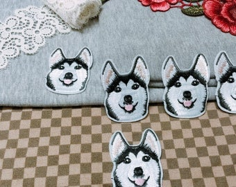 Cute husky iron on patch/dog patch/animal patch/embroidered patch/jacket patch/hat patch/denim patch/DIY
