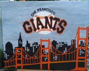 "SF Giants Logo Art Hand Painted on Canvas 16""x 20"" - Sports Team Wall Art - Handmade Gift - Baseball Painting - Man Cave Gift"