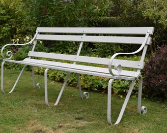 Antique scrolled garden park bench C1900-1920 wood and wrought Iron 6ft white