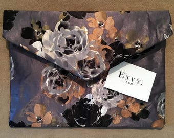Grey and Blue Floral Clutch Bag
