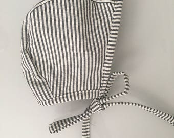 Charcoal and White Seersucker Bonnet