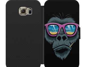 Chilled out cool gorilla flip wallet phone case for iphone 4 5 6 7 Samsung s2 s3 s4 s5 s6 s7 plus more