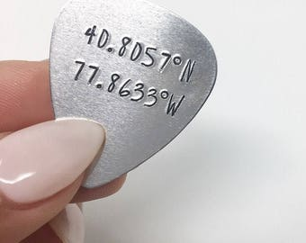 Coordinates • Personalized Guitar Pick • Custom Guitar Pick • Engraved Pick • Father's Day • Gifts