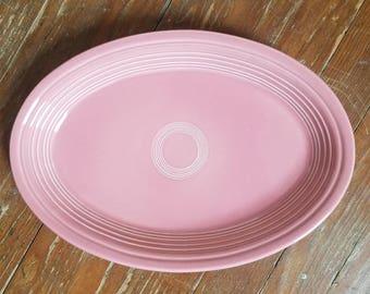 VINTAGE Rose Pink FIESTAWARE oval serving platter with stamp