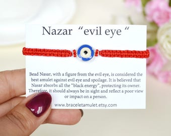Kabbalah red string of fate Evil eye bracelet Long distance gifts Good luck bracelets Evil eye jewelry Stretch bracelet Evil eye protection