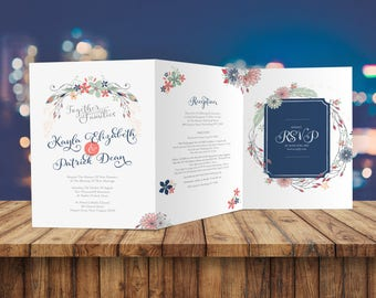 Trifold Printable Wedding Invitation U0026 Rehearsal Dinner Insert / Boho  Wedding / Floral Wedding / Vintage