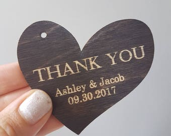 Laser Engraved Heart 'Thank You' Wood Tags