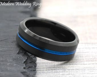 Black Tungsten Wedding Band Ion Plated Cobalt Blue Stripe Centered Unique Engagement Ring Mens Wedding Ring