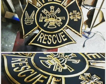 Fire Rescue Carved Sign