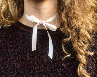 Unique Pink Ribbon Choker with Bow