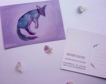 Northern Creatures Magic Galaxy Fox A6 Postcard/Mini Art Prints