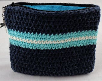 Crochet Cotton Cosmetic Bag with Zipper and Lining