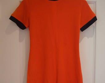 Vintage Romper - Orange / Navy - Zip Close
