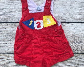 Popsicle VINTAGE Baby Boy Overalls Red with Numbers and Shapes 12 month