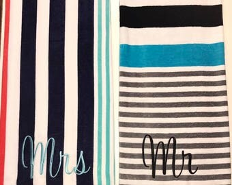 Velour Deluxe Mr and Mrs Beach Towels