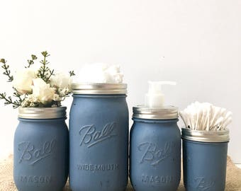 Blue Bathroom Decor Mason Jars Bathroom, Mason Jar Bathroom Storage, tiffanys color Mason Jar Soap Pump and Lid, Mason Jar Soap Dispenser