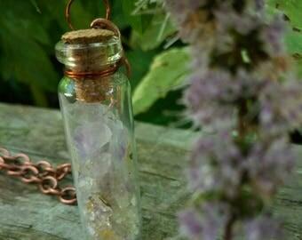 Amethyst Crystal Jar Necklace | Bohemian | Gypsy | Charm Satchel | Charm Vial | Steampunk | Hippie | Druid | Folk|