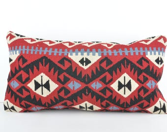 Kilim Lumbar Pillow, 12x24 Kilim Pillow Cover, Turkish Pillow Cushion Cover, Decorative Kilim Pillow, Bohemian Kilim Pillow