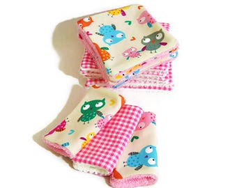 """12 wipes Terry organic bamboo and cotton fabric """"Little owls"""""""
