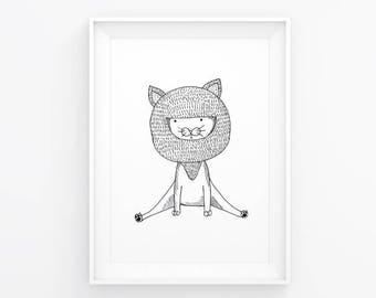 Kitty Sit: Children's Art Print / Nursery / A5 Fine Liner Print / Detail