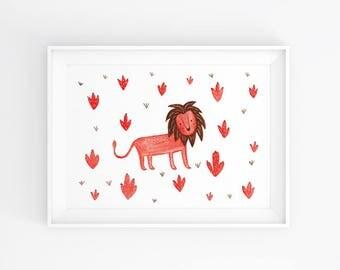 Lion / A5 Watercolour Art Print / Pattern / Nursery / Kids Room Decor