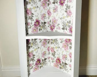 Shabby Chic Up-Cycled Decoupage Wooden Corner Shelf in Laura Ashley Print ONLY ONE AVAILABLE