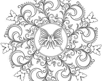 Butterfly Mandala - Adult Coloring Page