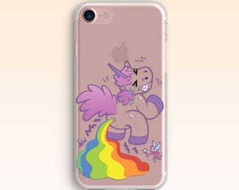 Unicorn iPhone Case iPhone SE case iPhone 7 case iPhone 6  Rainbow Cover iPhone 6s Plus Clear case for Samsung S8 case for Galaxy S7 021