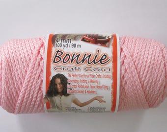 Bonnie Macrame Craft Cord 4mm 100 Yards Pink