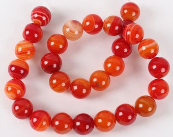 Pearl Agate 12 mm orange red natural stone