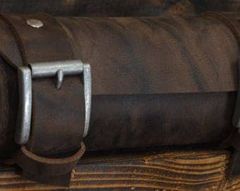 Handmade Leather Tool Roll Mocca