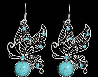 Bohemia Butterfly Silver Plated Dangle Earrings
