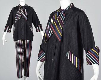 Large 1950s Pajamas PJs 1950s Loungewear Quilted Bed Jacket Ribbon Stripe Vintage 50s Lounge Jammies